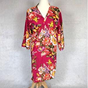 Floral Pink Soft Kimono Wrap One Size